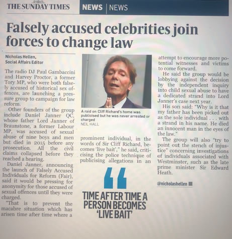 The Times Article: Paul Gambaccini and Harvey Proctor among falsely accused celebrities joining forces to change law. A raid on Cliff Richard's home was publicised but he was never arrested or charged
